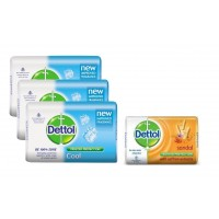 Dettol Cool Soap (Pack Of 3) + 125gm Dettol Sandal Soap Free (Rs. 5 Off)