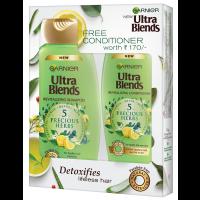 Garnier Ultra Blends 5 Precious Herbs Shampoo 340ml + Free Conditioner Worth Rs 170/-