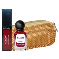 Revlon Maroon Magic Lip & Nail Beauty Collection With Golden Beeds Pouch