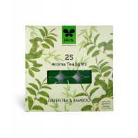 Iris Aroma Pack of 25 Tea Lights - Green Tea & Bamboo