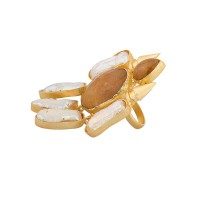 Studio Voylla Golden Statement Ring Decked With Brown-White Stones