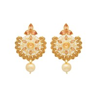 Studio Voylla White Enameled Danglers Earring For Women