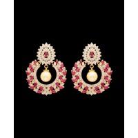 Studio Voylla Constellation Full Moon Zircon Studded Earrings - Pink And White