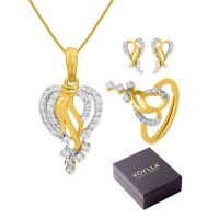 Studio Voylla Pendant Set With Adjustable Ring In Box For Women
