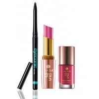 Lakme Pink Kit : Eyeconic + 9 to 5 Crease-less Creme Lipstick - CP15 Pink Affair + 9 to 5 Long Wear Nail Color - Pink Case