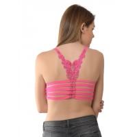 Da Intimo Wire Free Cage Back Pink Bralette