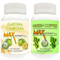 Nutravigour Garcinia Cambogia Max 85% HCA Extract 800mg Veggie 90 Capsules With Green Coffee Max Extract Chlorogenic Acid (GCA) 800mg Vegetarian 90 Capsules - Pack Of 2