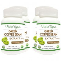 Nutravigour Organic Green Coffee Bean Extract 60% GCA Weight Loss - 90 Capsules 800mg - Pack Of 4