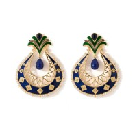 Studio Voylla Stunning Pair Of Dangler Earrings With Blue Enamel Work