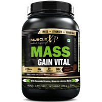 MuscleXP Mass Gain Vital (Mass Gainer With MultiVitamins), Double Rich Chocolate - 1Kg (2.2 Lbs)