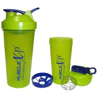 MuscleXP Neon Green Shaker Bottle With Stainer + Wire Ball - Design 4