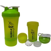MuscleXP AdvancedStak Protein Shaker with Steel Ball (Neon Green) - Design 3