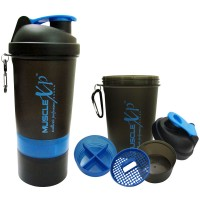 MuscleXP Smart Advanced Gym Shaker (Black & Blue) With Strainer - Design 8