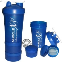 MuscleXP AdvancedStak Protein Shaker (Blue & White) with Steel Ball - Design 14