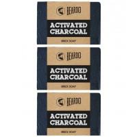 Beardo Activated Charcoal Brick Soap  -  125 gm - Set Of 3
