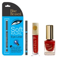 Blue Heaven Long Wear Lip Color 248, Xpression Nail Paint 919 & Bh Kajal Liner Combo