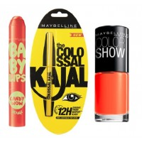 Maybelline Baby Lips Candy Wow + Colossal Kajal + Free Nail Lacquer - Orange Fix 214