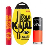 Maybelline Baby Lips Candy Wow - Cherry + Colossal Kajal + Free Nail Lacquer - Orange Fix