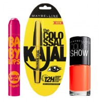 Maybelline New York Baby Lips Candy Wow - Rasberry + Colossal Kajal + Free Nail Lacquer-Orange Fix