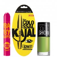 Maybelline Baby Lips Candy Wow - Rasberry + Colossal Kajal + Free Nail Lacquer - Mint Mojito