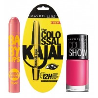 Maybelline Baby Lips Candy Wow - Peach + Colossal Kajal + Free Nail Lacquer - Hooked On Pink