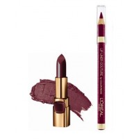 L'Oreal Paris Color Riche Moist Matte Lipstick - Arabian Night + Lip Linner Couture - Intense Plum