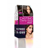 L'Oreal Paris Casting Creme Gloss Hair Color - 300 Darkest Brown + Free Earrings