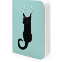 DailyObjects Black Cat On Drapes A5 Notebook