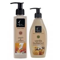 Natural Bath & Body Peach And Cream Body Latte And Vanilla Butternut Ultra Rich Shower Creme Combo