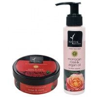 Natural Bath & Body Rose And Mint Ultimate Spa Body Polisher And Morrocan Rose And Argan Oil After Bath Oil Combo