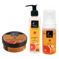 Natural Bath & Body Gel Face Masque - Grapefruit  And Vitamin + Vitamin Face Wash + Vitamin Body Latte Combo