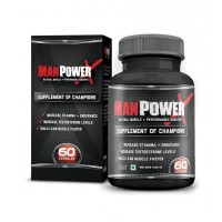 Wow Manpower X Testosterone Booster And Bodybuilding Supplement (60 Capsules)