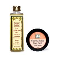 Auravedic Skin Lightening Oil & Kumkumadi Face Wash (set of 2)