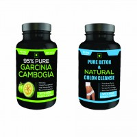 Nutravigour Pure Detox & Natural Colon Cleanse 60 Veg Capsules + Pure Garcinia Cambogia 95% Hca 60 Veg Capsules For Weight Loss - Pack Of 2