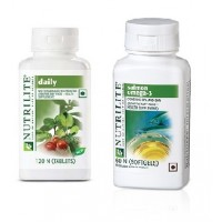 Amway Nutrilite Daily 120 & Salmon Omega-3, 60 Softgels - Combo Of 2
