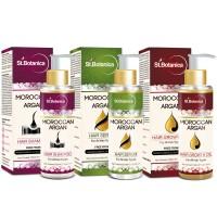 St.Botanica Moroccan Argan Hair Shampoo + Hair Serum + Hair Growth Oil (Combo Pack)