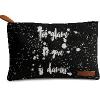 DailyObjects Too Glam To Give A Damn Silver Carry-All Pouch Medium