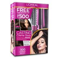L'Oreal Paris Casting Creme Gloss Hair Color - 300 Darkest Brown + Styling Kit