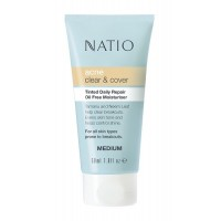 Natio Acne Clear & Cover Tinted Daily Repair Oil Free Moisturiser