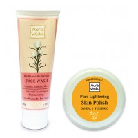 Auravedic Saffron Almond Rose Face Wash And Sandal Polish