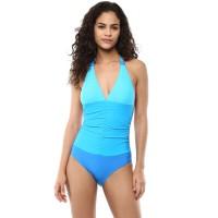 Blush Plunge Halter Neck Swimsuit - Blue