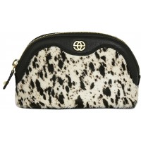 Eske Noshi Black White Fur Cosmetic Case