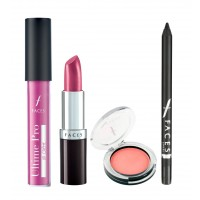 Faces Ultime Pro Lip Creme + Ultramoist Lipstick + Eye Pencil  + Glam On Perfect Blush Combo Kit 3