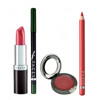 Faces Ultramoist Lipstick + Eye Pencil + Lip Contour + Glam on Creme Blush Combo Kit 1
