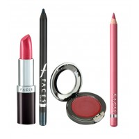 Faces Ultramoist Lipstick + Eye Pencil + Lip Contour + Glam on Creme Blush Combo Kit 5