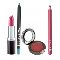 Faces Ultramoist Lipstick + Eye Pencil + Lip Contour + Glam on Creme Blush Combo Kit 4