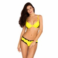 Candyskin Cheeky Panty With Lace Trim (Yellow-Black)
