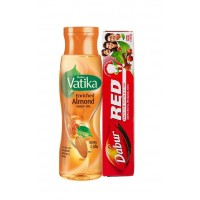 Dabur Vatika Enriched Almond Hair Oil With Free Dabur Red Paste (Worth Rs.42)