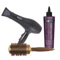 Wizer Professional Hair Dryer + Olivia Garden NanoThermic Ceramic + Ion Brush + Osmo Blow Dry Potion Heat Acitvated Styler