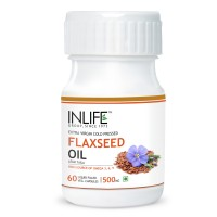 INLIFE FlaxSeed Extra Virgin Cold Pressed Oil, 500mg 60 Veg Capsules For Joints